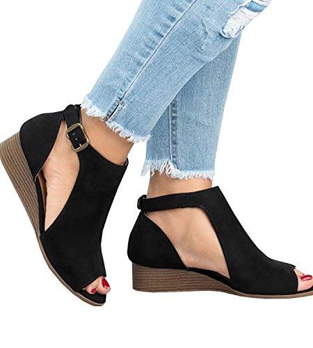 ThusFar Women Black Suede Out Shoes Strap Espadrille Wedge Cut Sandals Toe Peep Platform Ankle BBrdq