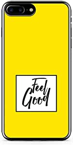 iPhone 8 Plus Transparent Edge Phone case Feel Good Phone Case Yellow Typography iPhone 8 Plus Cover with Transparent Frame