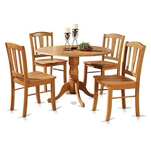 East West Furniture DLIN5-OAK-W 5-Piece Round Kitchen Table and 4 Dinette Chairs Set, Oak ()
