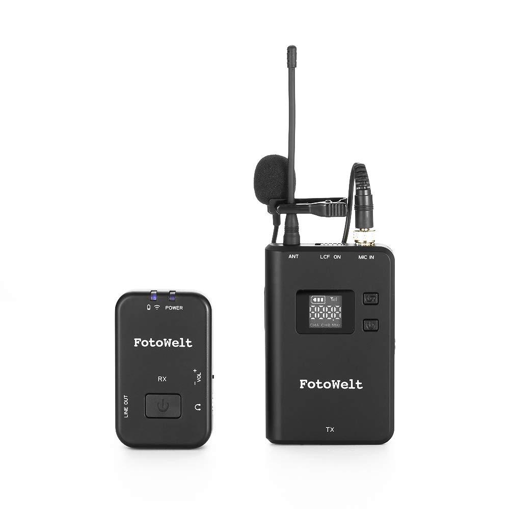Fotowelt UHF - Micrófono inalámbrico de 3,5 mm para cámara réflex ...