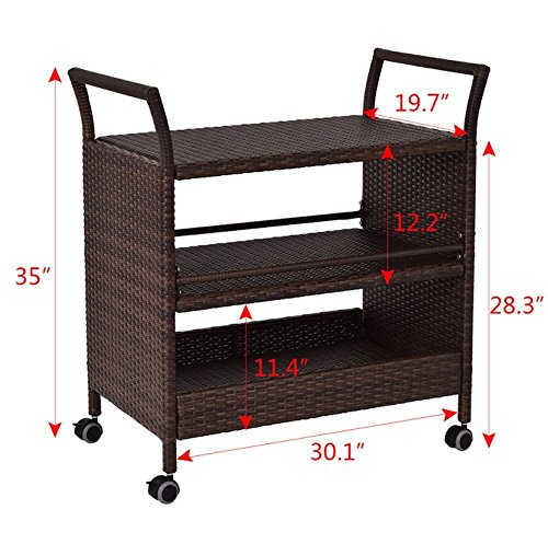 Rolling Rattan Serving Cart With 3 Storage Shelves Rack Kitchen Island Dining Trolley Indoor Outdoor Furniture Rattan Material And Solid Steel Construction 360 Degree Swivel Wheels Large Storage Space by Auténtico (Image #1)
