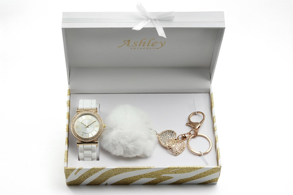 Pom Pom Fun and Colorful Ladies Keychain and Watch Set - ST10122White