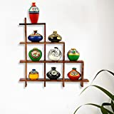 ExclusiveLane 9 Terracotta Warli Handpainted Pots With Sheesham Wooden Frame Wall Hanging