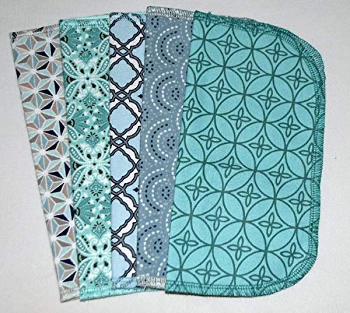 1 Ply Moroccan Tile Flannel Washable Kids Lunchbox Napkins 8x8 inches 5 Pack - Little Wipes (R) - Tile Living Eco