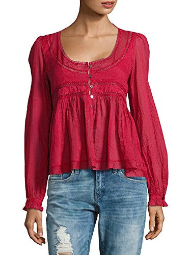 Free People Womens Embellished Square Neck Peasant Top Red S