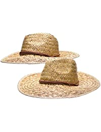 1fe742dc4b7 2 pack Woven Straw Cowboy Hat with Adjustable Drawstring Chinstrap (Pack of  2)