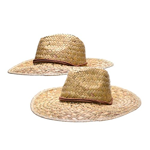 Bottles N Bags 2 pack Woven Straw Cowboy Hat with Adjustable Drawstring Chinstrap (Pack of 2) -