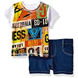 GUESS Baby Boys' Set Sleeve Graphic T-Shirt and Denim Shorts, Font Print, 18M