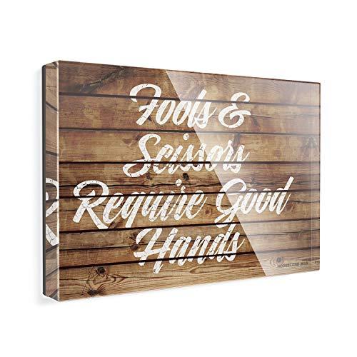 Acrylic Fridge Magnet Painted Wood Fools & Scissors Require Good Hands NEONBLOND ()