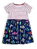 Girls Summer Casual Appliques Dresses Cartoon Cotton Kids Short Sleeves Flower Dresses 3T