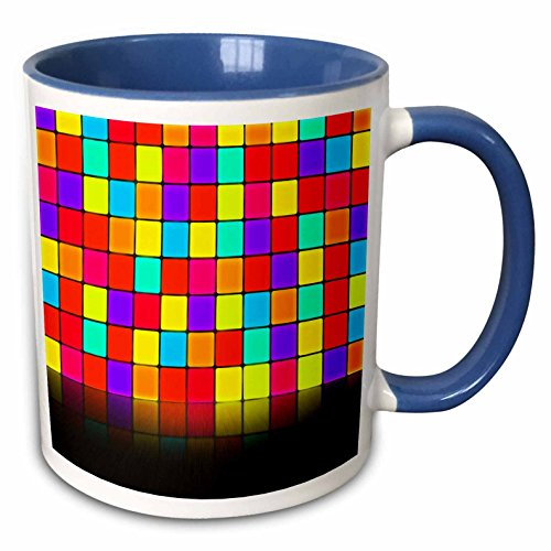 3dRose Anne Marie Baugh - Room Effects - Colorful Squares Wall With Mirrored Effect Floor - 15oz Two-Tone Blue Mug (mug_213813_11)