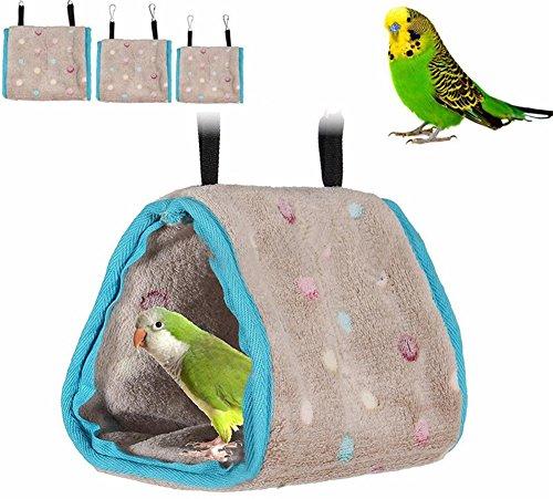 - ZEROYOYO Plush Hut Hammock Hanging Cave Cage Snug Tent Bed Bird Parrot Hamster Bunk Toy Snuggle (S)