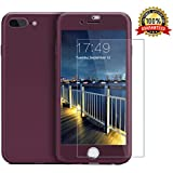 iPhone 7 Plus case/iPhone 8 Plus case,360 Full Body Protection Anti-Scratch Resistant Slim Case Non Slip Surface with Tempered Glass Screen Protector for iPhone 7 Plus/iPhone 8 Plus (Purple)