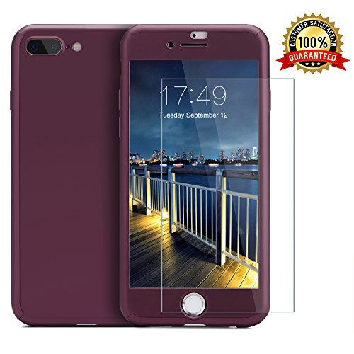iPhone 7 Plus case/iPhone 8 Plus case,360 Full Body Protection Anti-Scratch Resistant Slim Case Non Slip Surface with Tempered Glass Screen Protector for iPhone 7 Plus/iPhone 8 Plus (Purple) (Purple)