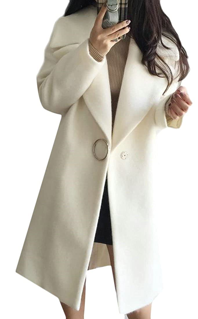 Cruiize Womens Wool-Blend Overcoat Solid Winter Lapel Thick Pea Coat