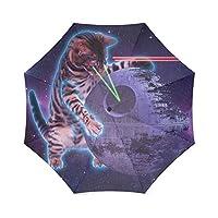 Star Galaxy Outer Space Cool Cat Folding Rain Umbrella/Parasol/Sun Umbrella