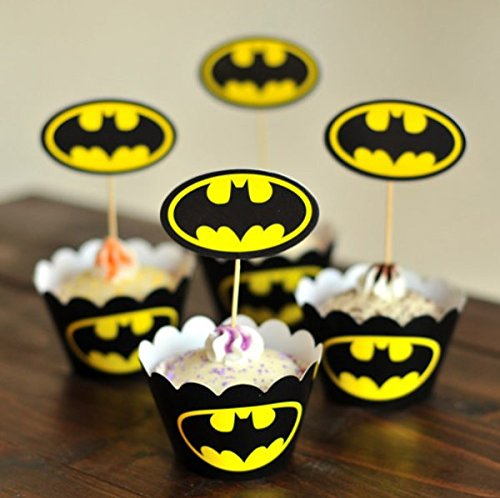 Astro shop Batman Cupcake Wrappers with Picks for Cake & Themed Party Decoration Cupcake Favor Supplies