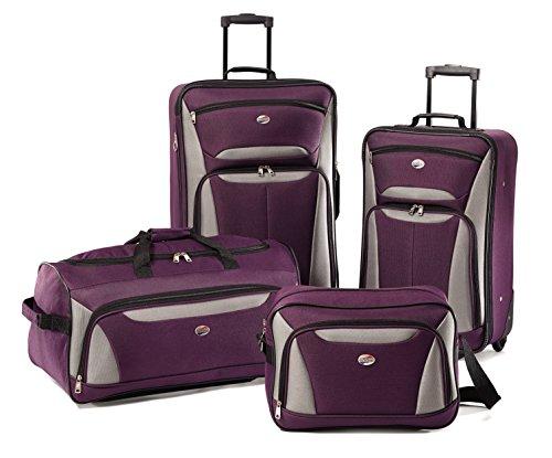 American Tourister Luggage Fieldbrook 4 Piece Set, Purpl (4 Smart Set Luggage Piece)