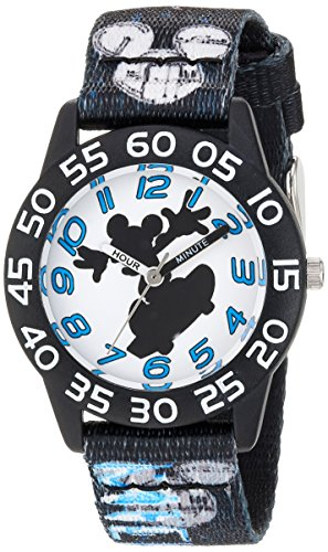 Disney Boy's 'Mickey Mouse' Quartz Plastic and Nylon Casual Watch, Color:Black (Model: WDS000125)