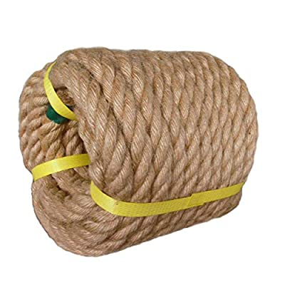 Twisted Manila Rope Jute Rope (3/4 in x 50 ft) Natural Thick Hemp Rope for Crafts, Landscaping, Railings, Hammock, Home Decorating