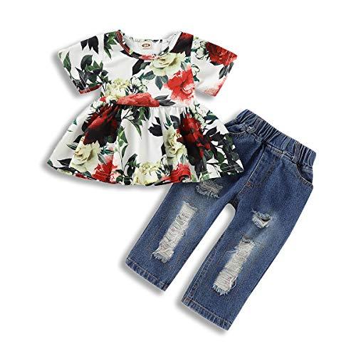 35ef849a4 ZOELNIC Baby Girls Floral Pants Sets Infant Girl Short Sleeve Flower Shirt  + Denim Pants Ripped