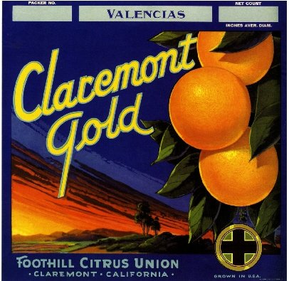 - A SLICE IN TIME Claremont California Gold Orange Citrus Fruit Crate Box Label Art Print