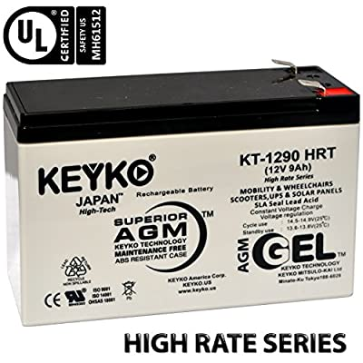 Genuine KEYKO 12V 9Ah GEL Battery - REAL 9.0 Amp - Designed for UPS - Deep Cycle AGM / SLA Seal Lead Acid Rechargeable Replacement - F2 Terminal