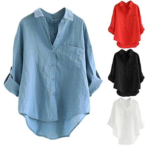 Nero Donna Bottone Nero Lunga Manica Donna Lunghe Donna Corta Camicetta T Bianca Shirt Loose Maniche Maglia Donna Top Casual Maglietta Camicetta RdqxA1q