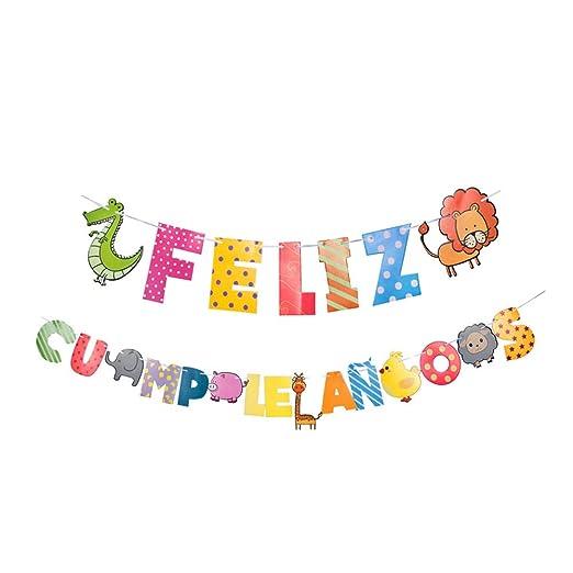 Ruiting Bandera Banderines Cumpleaños,Bunting Banner Feliz Cumpleaños Guirnalda Cadena Colorida con Dibujos Animados para Feliz Fiesta de cumpleaños ...