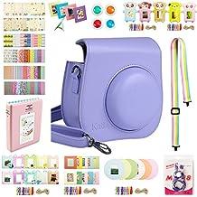 Fujifilm Instax Mini 8 Instant Camera Accessory Bundles Set(mini 8 case/Book Album/close-up lens(self-portrait mirror)/ Colorful Filter/ Camera Strap/3 Inch Photo Frame/ Colorful decor sticker borders/ Colorful wall decor hanging frame) Set8(Purple)