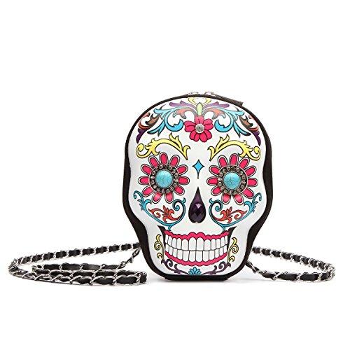Sugar Skull Day of the Dead Cute Cross Body Handbags Women Purse Fashion Calavera Single Shoulder Bag (White) (Ladies Shell Shaped Handbags)