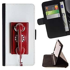 Momo Phone Case / Flip Funda de Cuero Case Cover - Teléfono rojo Rotary Blanco vintage retro - Samsung Galaxy S6 Active G890A