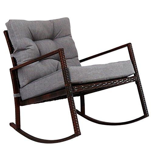 Kinbor Rattan Rocker Chair Outdoor Garden Rocking Chair Wicker Lounge w/ Cushion (Gray) by Kinbor