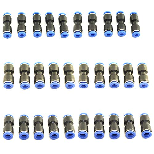 DGZZI 30-Pack Straight Type Pneumatic Push Connector in Fittings for Air/Water Hose and Tube Connector 4mm 6mm 8mm PU