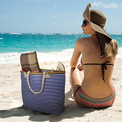 Femme Zip 2 Transparent Vacances À Sac Grand Avec Main Czemo Shopping tout Fourre Plage Impermeable De Taille Grande Xxl UcgwBS
