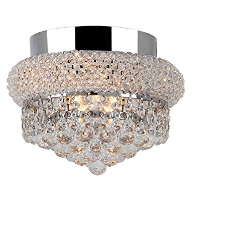 Worldwide Lighting W33011C8 Empire Collection 3 Light Chrome Finish & Clear Crystal Flush Mount Ceiling Light 8 inch D x 6 inch H Small Transitional Empire Collection 3 Light Clear Crystal Flush Mount Ceiling Light, 8″ D x 6″ H Medium