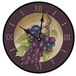 The Big Clock Store Vinyard Grapes Bordeaux Wall Clock, Available in 8 sizes, Most Sizes Ship 2-3 days, Whisper Quiet.