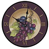 grapes wall clock - The Big Clock Store Vinyard Grapes Bordeaux Wall Clock, Available in 8 sizes, Most Sizes Ship 2-3 days, Whisper Quiet.