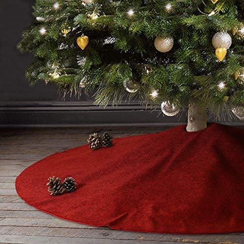 Ivenf Christmas Tree Skirt, 48 inches Large Burgundy Burlap Like Plain Xmas Tree Skirt, Rustic Xmas Tree Holiday Decorations ()
