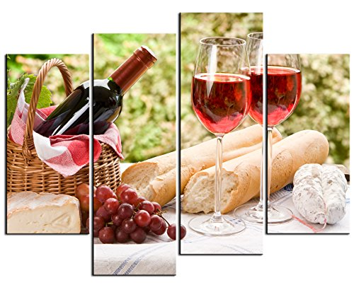 - Wine Paintings Wall Art a Bottle of Wine in Cane Basket and Some