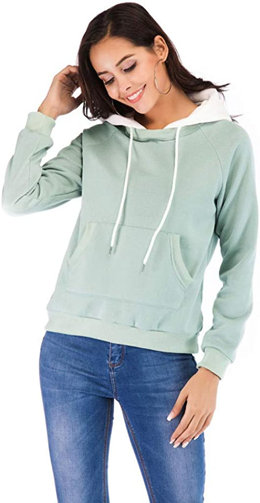 Pullover Sweatshirt for Women nikunLONG Tunic with Pocket Long Sleeve Loose Top Shirt Contrast Color