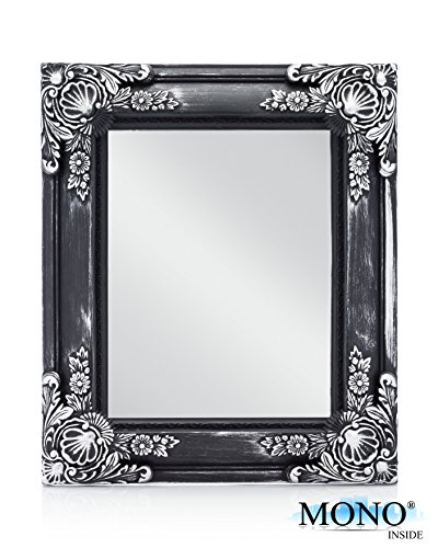 """MONOINSIDE Small Framed Decorative Rectangle Wall Mount Mirror, Vintage Style, Black Plastic Frame with Antique Silver Floral Pattern, 13"""" x 11"""" Inches"""