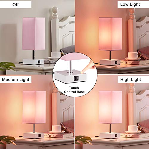 Touch Control Table Lamp with 2 USB Charging Ports, 3 Way Touch Lamps Beside Desk, Nightstand Lamp for Bedrooms Living Room, Pink Shade with White Base, LED Bulb Included(Pink)