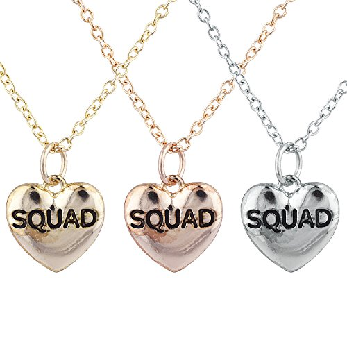 Lux Accessories Tri Color Squad BFF Best Friends Heart Pendant Necklace Set 3PC