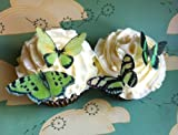 Edible Butterflies © – Small Green Set of 24 – Cake and Cupcake Toppers, Decoration, Health Care Stuffs