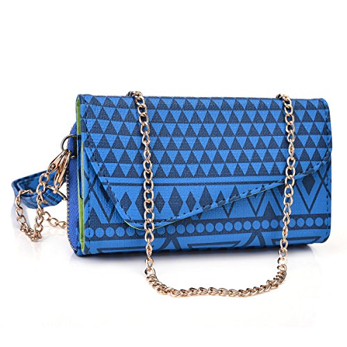 Tribal Mayan Sony Xperia Z3 Compact (AKA Sony D5803, D5833)I Case Wallet Clutch | Blue Ravine + Wristlet and Crossbody Chain & Nextdia Cable Tie