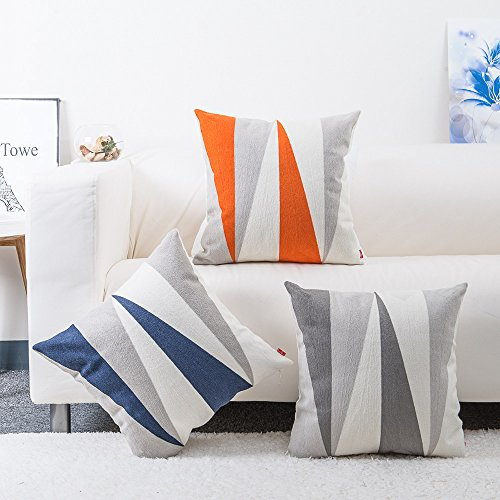 - baibu Cotton Embroidery Decor Throw Pillow Cover Contrast Color Pattern Accent Pillow Case Multicolor 3PCS