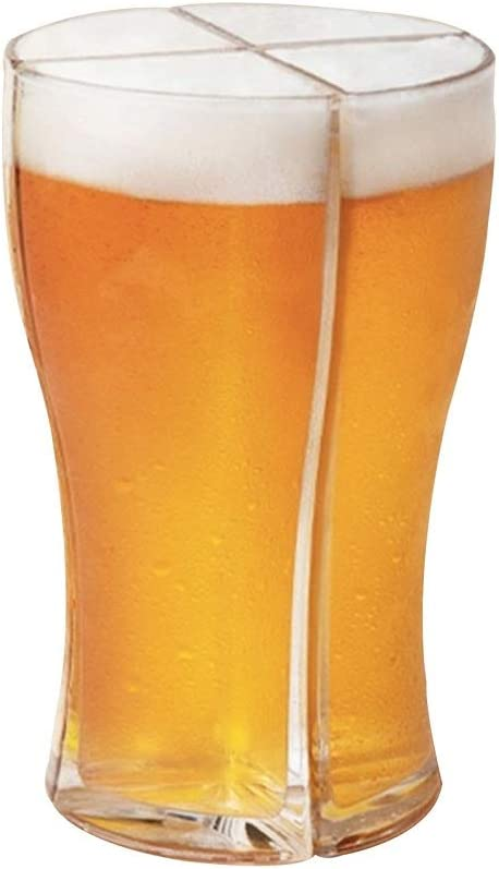 Kooshy Taza de Cerveza de acrílico 4 en 1, Taza de Cerveza de acrílico de plástico de 4 Piezas, Taza de Cerveza Personalizada, Regalo para Amigos, Fiesta, Vacaciones, cumpleaños, Jarra de Cerveza