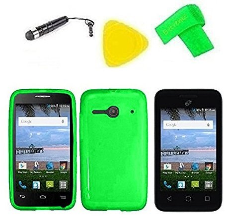 TPU Flexible Skin Cover Case Cell Phone Accessory + Screen Protector + Extreme Band + Stylus Pen + Pry Tool For Alcatel Onetouch Pixi Glitz A463BG (TPU Green) from ExtremeCases