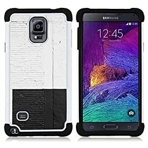 - white black wall brick rustic city street graffiti/ H??brido 3in1 Deluxe Impreso duro Soft Alto Impacto caja de la armadura Defender - SHIMIN CAO - For Samsung Galaxy Note 4 SM-N910 N910